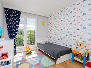 Mieszkanie na Białołęce 107m2 - Średni biały szary kolorowy pokój dziecka dla chłopca dla dziewczynki dla malucha, styl nowoczesny - zdjęcie od MODIFY - Architektura Wnętrz
