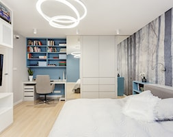 Apartament na Ursynowie 110m2 - Średnia szara niebieska sypialnia małżeńska, styl nowoczesny - zdjęcie od MODIFY - Architektura Wnętrz - Homebook