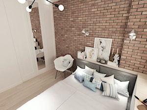 Projekt małego mieszkania - Warszawa Śródmieście - Średnia czerwona sypialnia małżeńska, styl skandynawski - zdjęcie od MODIFY - Architektura Wnętrz