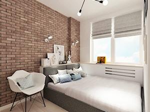 Projekt małego mieszkania - Warszawa Śródmieście - Średnia biała czerwona sypialnia małżeńska, styl skandynawski - zdjęcie od MODIFY - Architektura Wnętrz