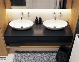 Projekt mieszkania w Olsztynie - Mała beżowa łazienka w bloku w domu jednorodzinnym bez okna - zdjęcie od BEFORECONCEPT