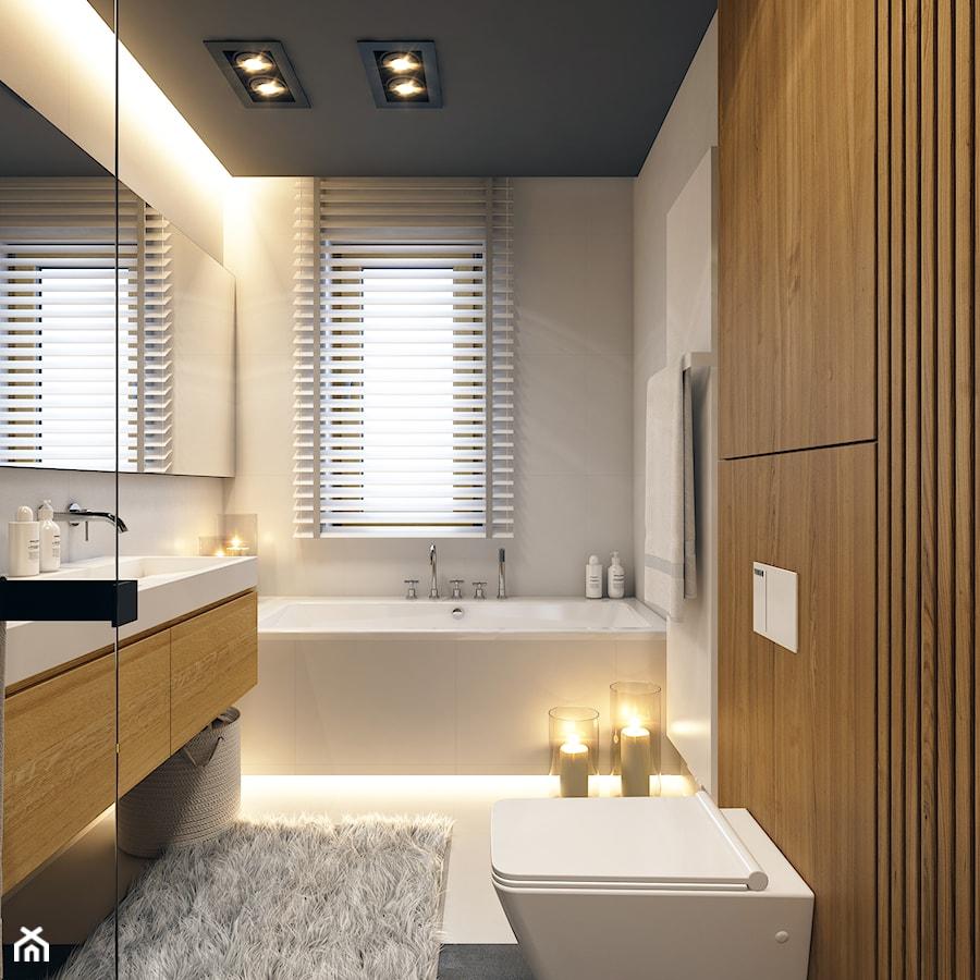 Aranżacje wnętrz - Łazienka: WARSZAWA 170m2 - Mała szara łazienka na poddaszu w bloku w domu jednorodzinnym z oknem, styl nowoczesny - BEFORECONCEPT. Przeglądaj, dodawaj i zapisuj najlepsze zdjęcia, pomysły i inspiracje designerskie. W bazie mamy już prawie milion fotografii!