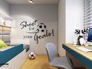 Kolejny projekt mieszkania w Krakowie - Mały szary pokój dziecka dla chłopca dla dziewczynki dla ucznia dla nastolatka, styl nowoczesny - zdjęcie od BEFORECONCEPT
