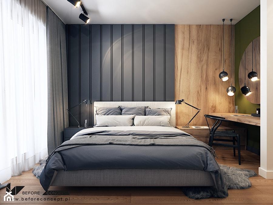 Klimatyczne mieszkanie w Krakowie 3 - Średnia beżowa czarna sypialnia małżeńska, styl nowoczesny - zdjęcie od BEFORECONCEPT