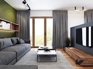 Klimatyczne mieszkanie w Krakowie 3 - Średni szary biały zielony czarny salon z jadalnią, styl nowoczesny - zdjęcie od BEFORECONCEPT