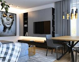 Mieszkanie - Kraków strefa dzienna - Mały szary salon z jadalnią, styl nowoczesny - zdjęcie od BEFORECONCEPT - Homebook