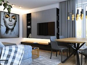 Mieszkanie - Kraków strefa dzienna - Mały szary salon z jadalnią, styl nowoczesny - zdjęcie od BEFORECONCEPT