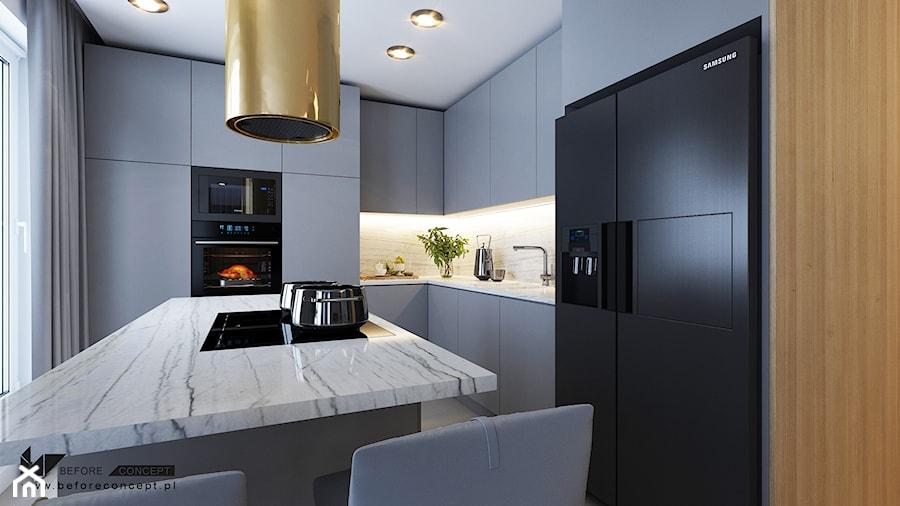 Mieszkanie - Kraków strefa dzienna - Średnia biała szara kuchnia w kształcie litery l w aneksie z wyspą z oknem, styl nowoczesny - zdjęcie od BEFORECONCEPT
