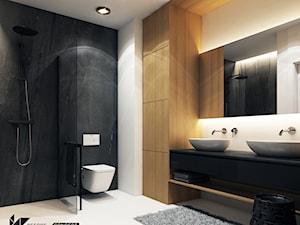 Projekt mieszkania w Olsztynie - Średnia biała czarna łazienka w bloku w domu jednorodzinnym bez okna - zdjęcie od BEFORECONCEPT