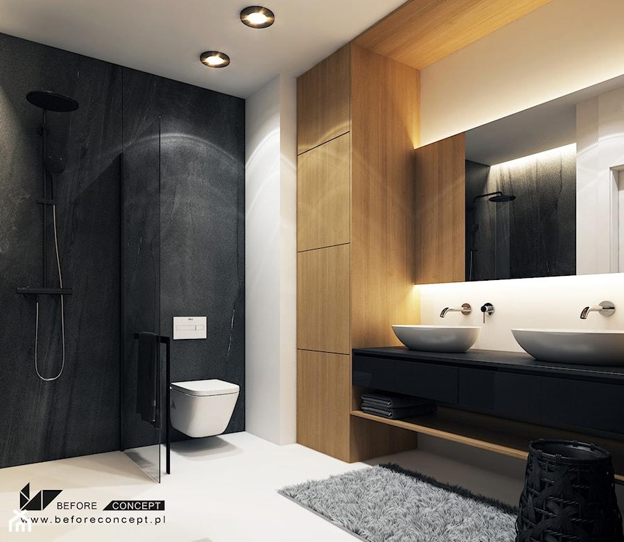 Aranżacje wnętrz - Łazienka: Projekt mieszkania w Olsztynie - Średnia biała czarna łazienka w bloku w domu jednorodzinnym bez okna - BEFORECONCEPT. Przeglądaj, dodawaj i zapisuj najlepsze zdjęcia, pomysły i inspiracje designerskie. W bazie mamy już prawie milion fotografii!
