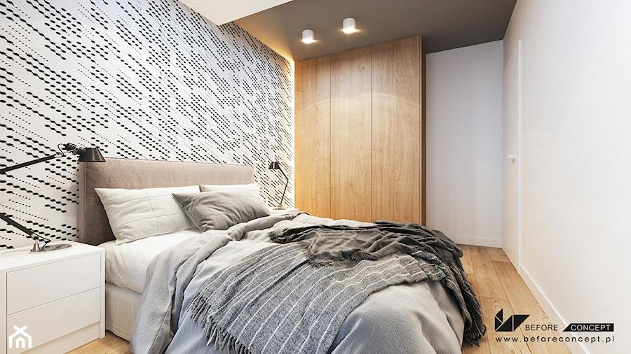 PROJEKT MIESZKANIA W KRAKOWIE 3 - Średnia biała sypialnia małżeńska, styl nowoczesny - zdjęcie od BEFORECONCEPT