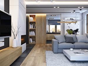 WARSZAWA 170m2 - Duży biały salon z bibiloteczką z kuchnią, styl nowoczesny - zdjęcie od BEFORECONCEPT