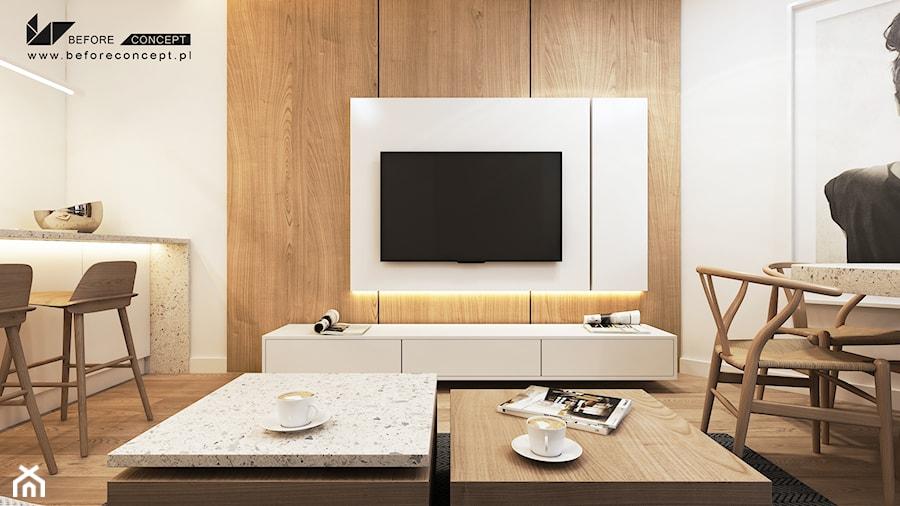PROJEKT MIESZKANIA W KRAKOWIE 3 - Średni biały salon z jadalnią, styl nowoczesny - zdjęcie od BEFORECONCEPT