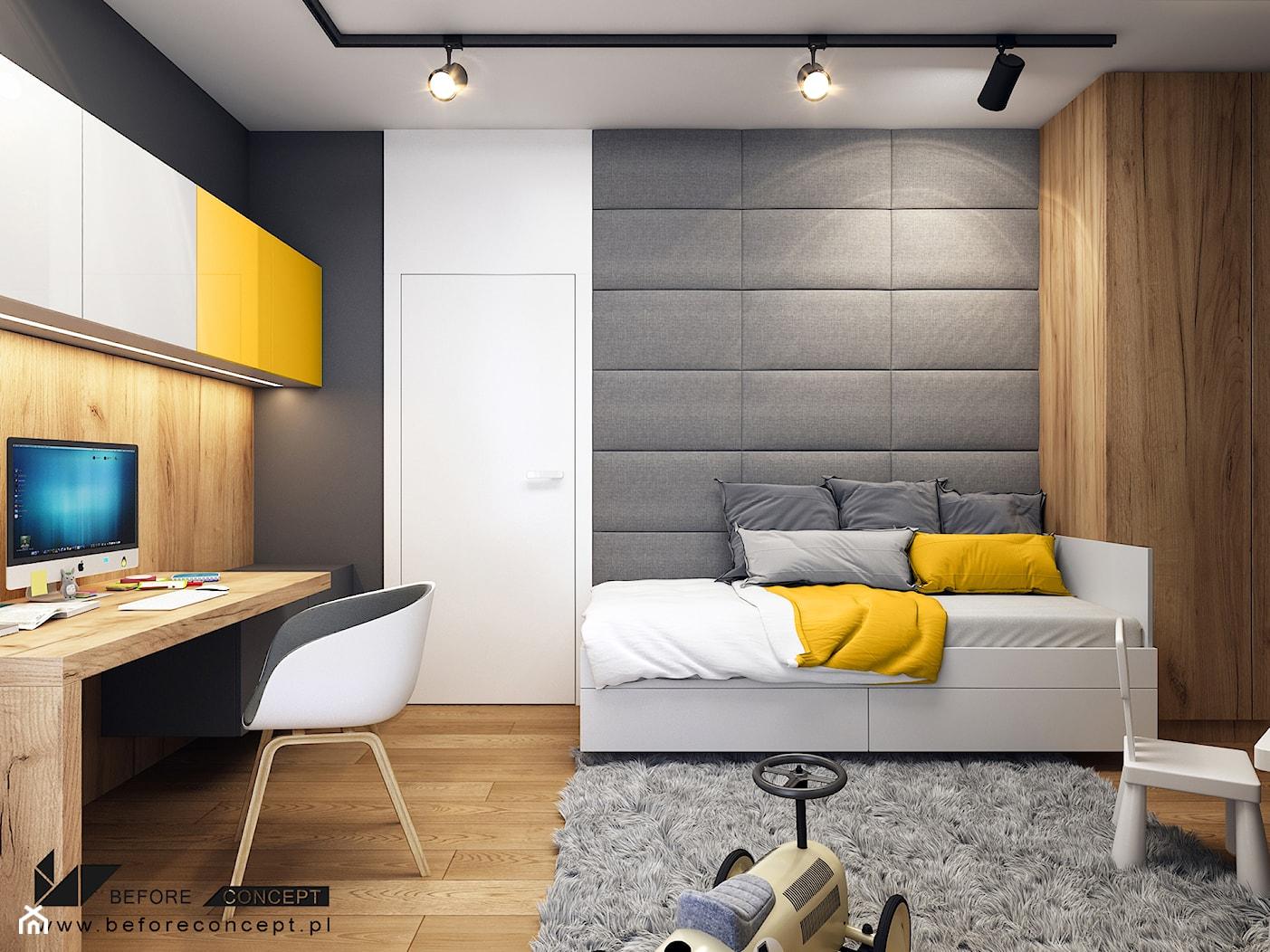 Klimatyczne mieszkanie w Krakowie 3 - Średni biały czarny pokój dziecka dla chłopca dla dziewczynki dla ucznia dla nastolatka, styl nowoczesny - zdjęcie od BEFORECONCEPT - Homebook