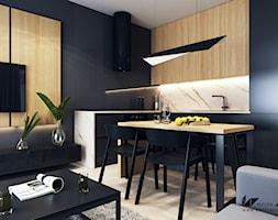 Projekt mieszkania w Olsztynie - Średnia otwarta wąska szara kuchnia w kształcie litery l w aneksie - zdjęcie od BEFORECONCEPT