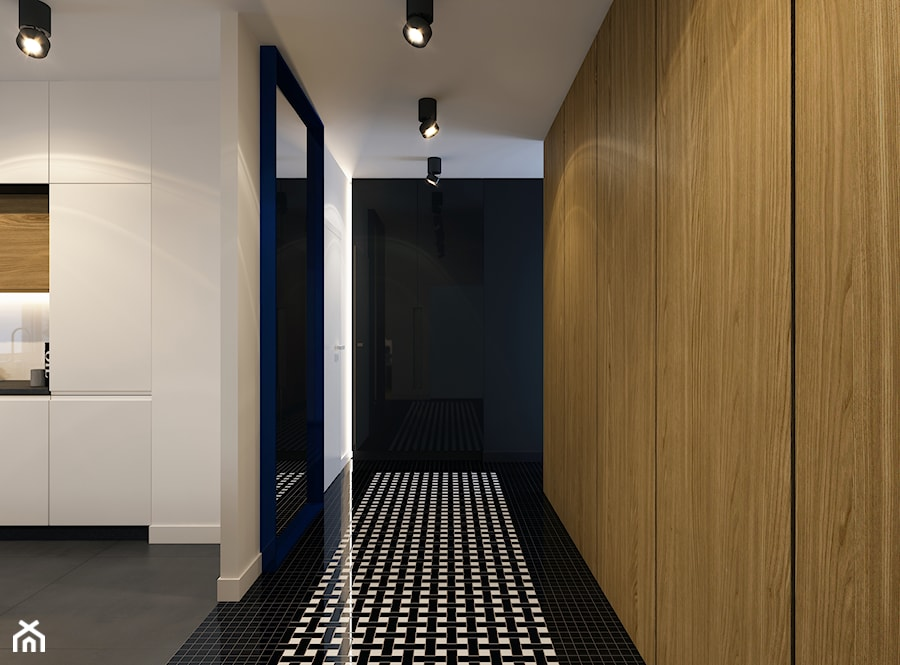 PROJEKTOWO W KRAKOWIE - Mały biały czarny hol / przedpokój, styl nowoczesny - zdjęcie od BEFORECONCEPT