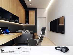Projekt mieszkania w Olsztynie - Średnie czarne białe biuro domowe w pokoju - zdjęcie od BEFORECONCEPT