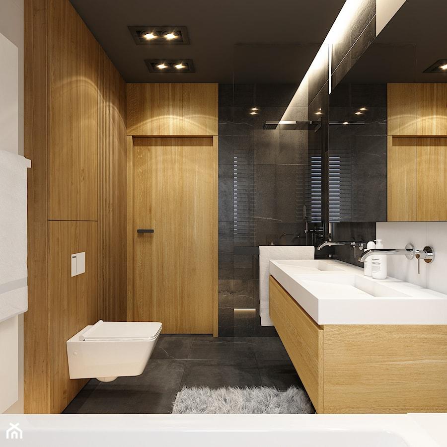 WARSZAWA 170m2 - Mała biała czarna łazienka na poddaszu w bloku w domu jednorodzinnym bez okna, styl nowoczesny - zdjęcie od BEFORECONCEPT