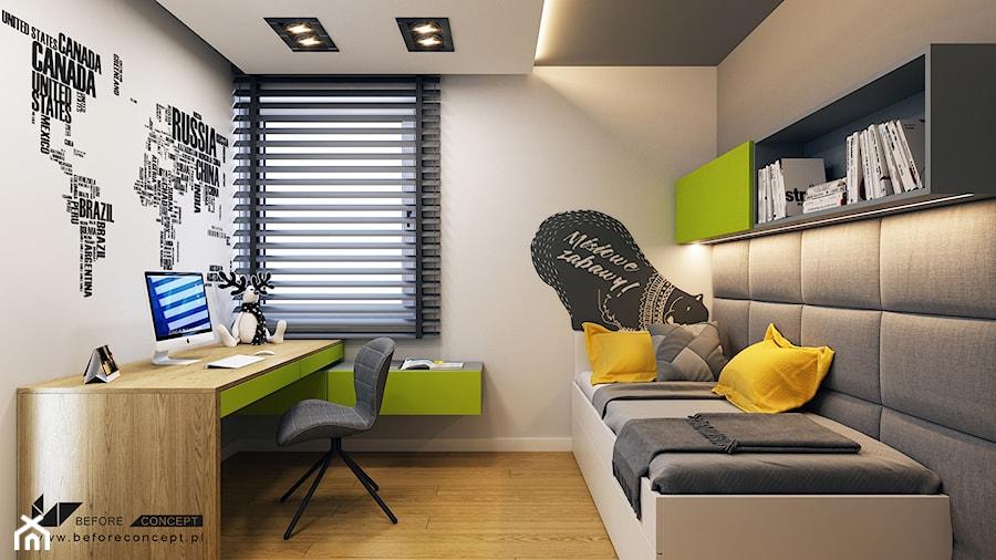 Kolejny projekt mieszkania w Krakowie - Średni szary pokój dziecka dla chłopca dla ucznia dla nastolatka, styl nowoczesny - zdjęcie od BEFORECONCEPT