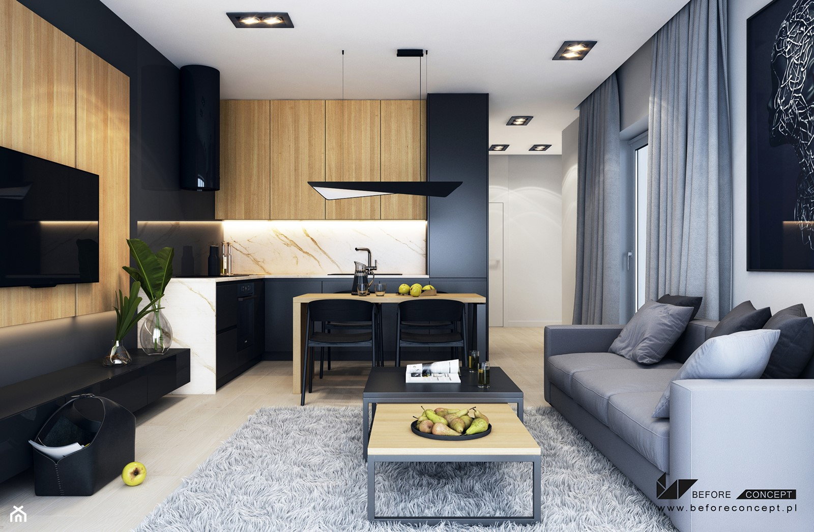 Projekt mieszkania w Olsztynie - Średni biały beżowy salon z kuchnią z jadalnią - zdjęcie od BEFORECONCEPT - Homebook