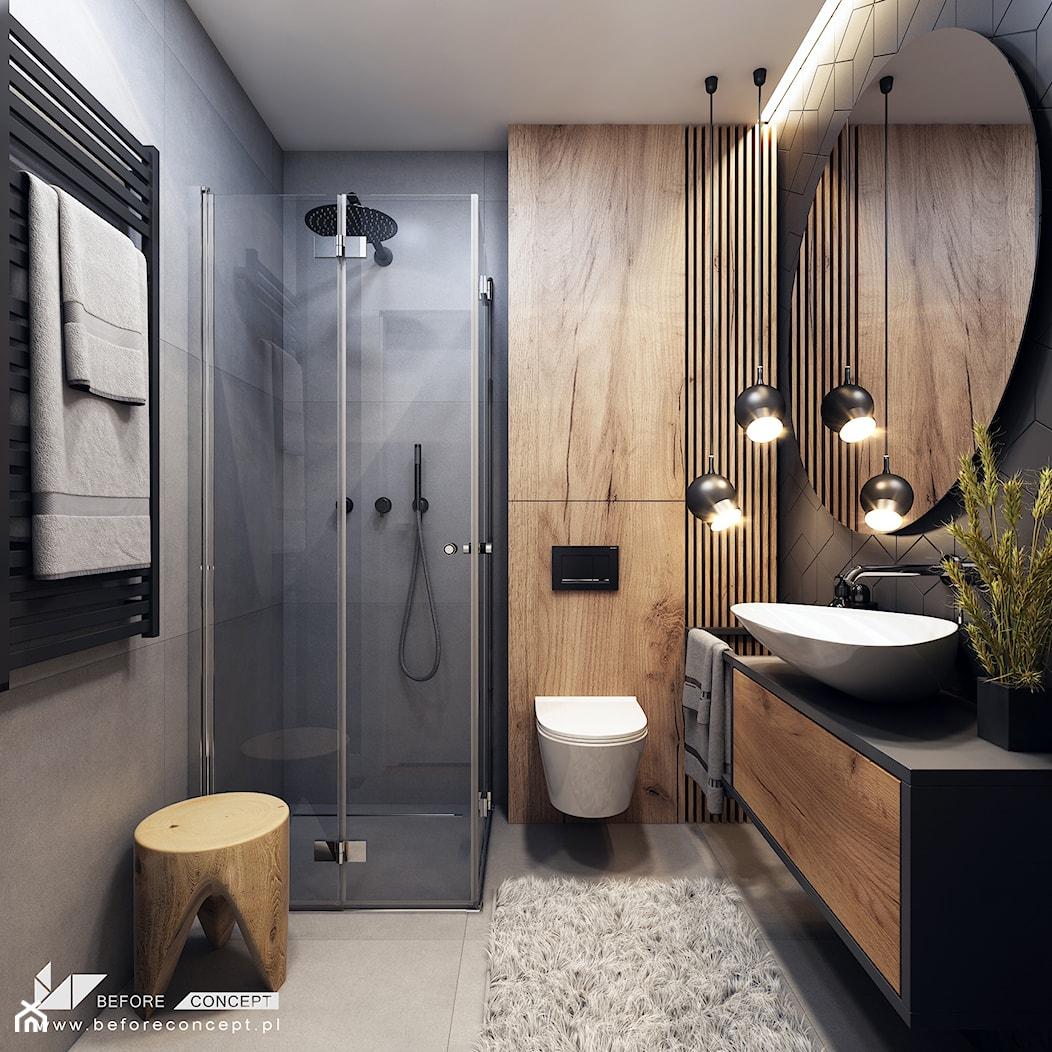 Klimatyczne mieszkanie w Krakowie 3 - Średnia szara łazienka bez okna, styl nowoczesny - zdjęcie od BEFORECONCEPT - Homebook