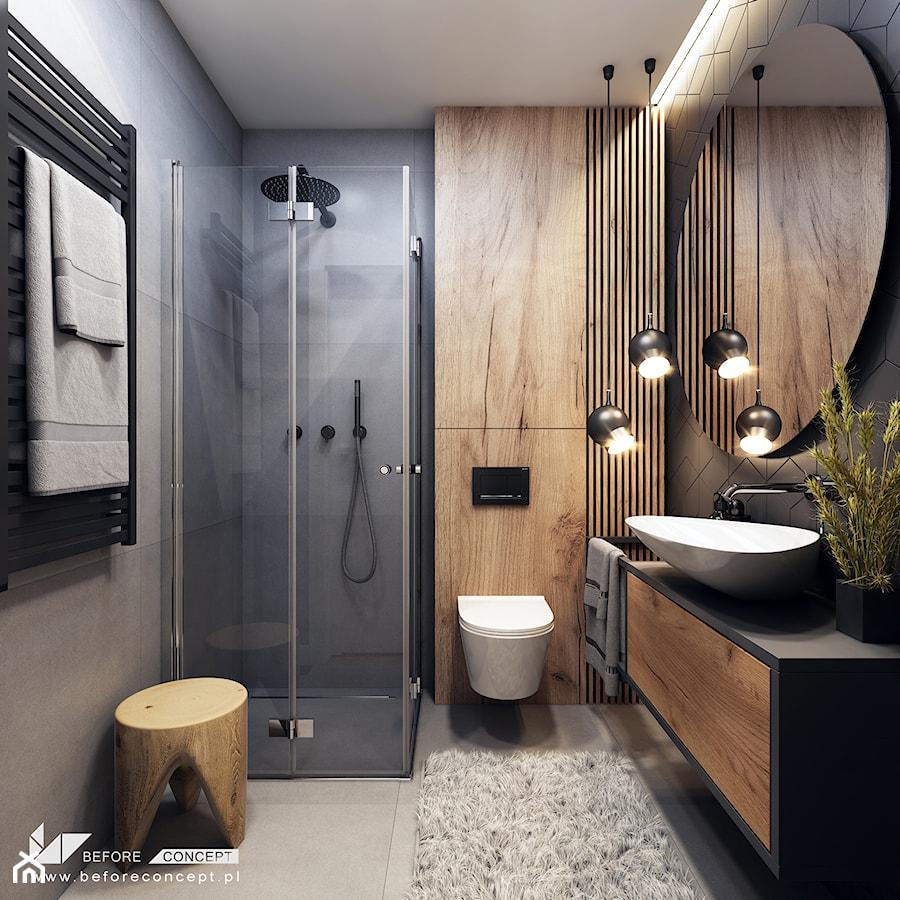 Klimatyczne mieszkanie w Krakowie 3 - Średnia szara łazienka bez okna, styl nowoczesny - zdjęcie od BEFORECONCEPT