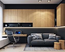 Projekt mieszkania w Olsztynie - Średnie czarne szare biuro domowe kącik do pracy w pokoju - zdjęcie od BEFORECONCEPT