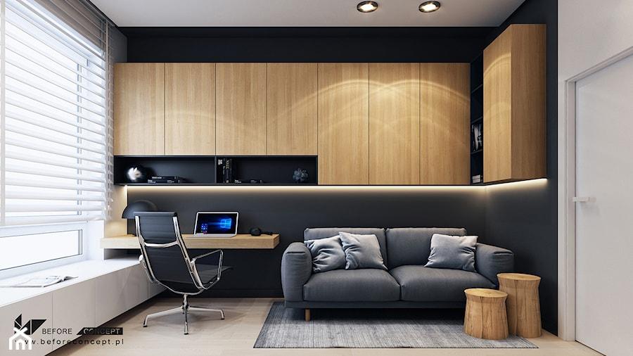 Aranżacje wnętrz - Biuro: Projekt mieszkania w Olsztynie - Średnie czarne szare biuro domowe kącik do pracy w pokoju - BEFORECONCEPT. Przeglądaj, dodawaj i zapisuj najlepsze zdjęcia, pomysły i inspiracje designerskie. W bazie mamy już prawie milion fotografii!