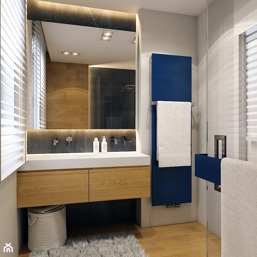 WARSZAWA 170m2 - Średnia biała szara łazienka na poddaszu w bloku w domu jednorodzinnym z oknem, styl nowoczesny - zdjęcie od BEFORECONCEPT
