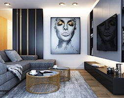 Mieszkanie - Kraków strefa dzienna - Mały szary salon, styl nowoczesny - zdjęcie od BEFORECONCEPT