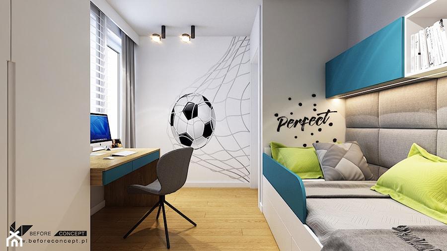 Kolejny projekt mieszkania w Krakowie - Mały szary pokój dziecka dla chłopca dla nastolatka, styl nowoczesny - zdjęcie od BEFORECONCEPT