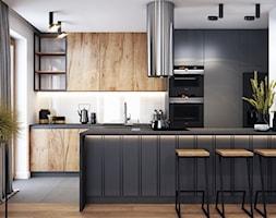 Klimatyczne mieszkanie w Krakowie 3 - Duża otwarta biała kuchnia dwurzędowa z oknem, styl nowoczesny - zdjęcie od BEFORECONCEPT