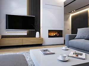 WARSZAWA 170m2 - Mały szary biały salon z bibiloteczką, styl nowoczesny - zdjęcie od BEFORECONCEPT