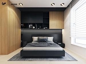 Projekt mieszkania w Olsztynie - Średnia biała czarna sypialnia małżeńska - zdjęcie od BEFORECONCEPT