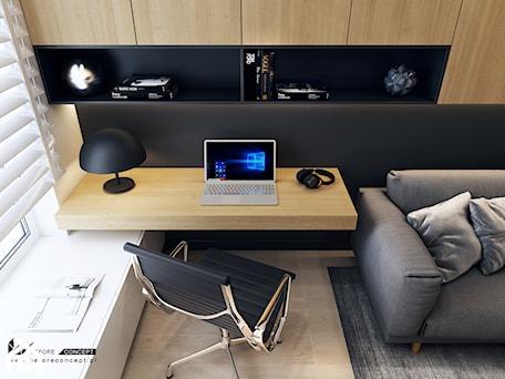 Aranżacje wnętrz - Biuro: Projekt mieszkania w Olsztynie - Małe czarne białe biuro domowe kącik do pracy w pokoju - BEFORECONCEPT. Przeglądaj, dodawaj i zapisuj najlepsze zdjęcia, pomysły i inspiracje designerskie. W bazie mamy już prawie milion fotografii!