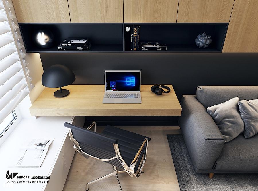 Projekt mieszkania w Olsztynie - Małe czarne białe biuro domowe kącik do pracy w pokoju - zdjęcie od BEFORECONCEPT