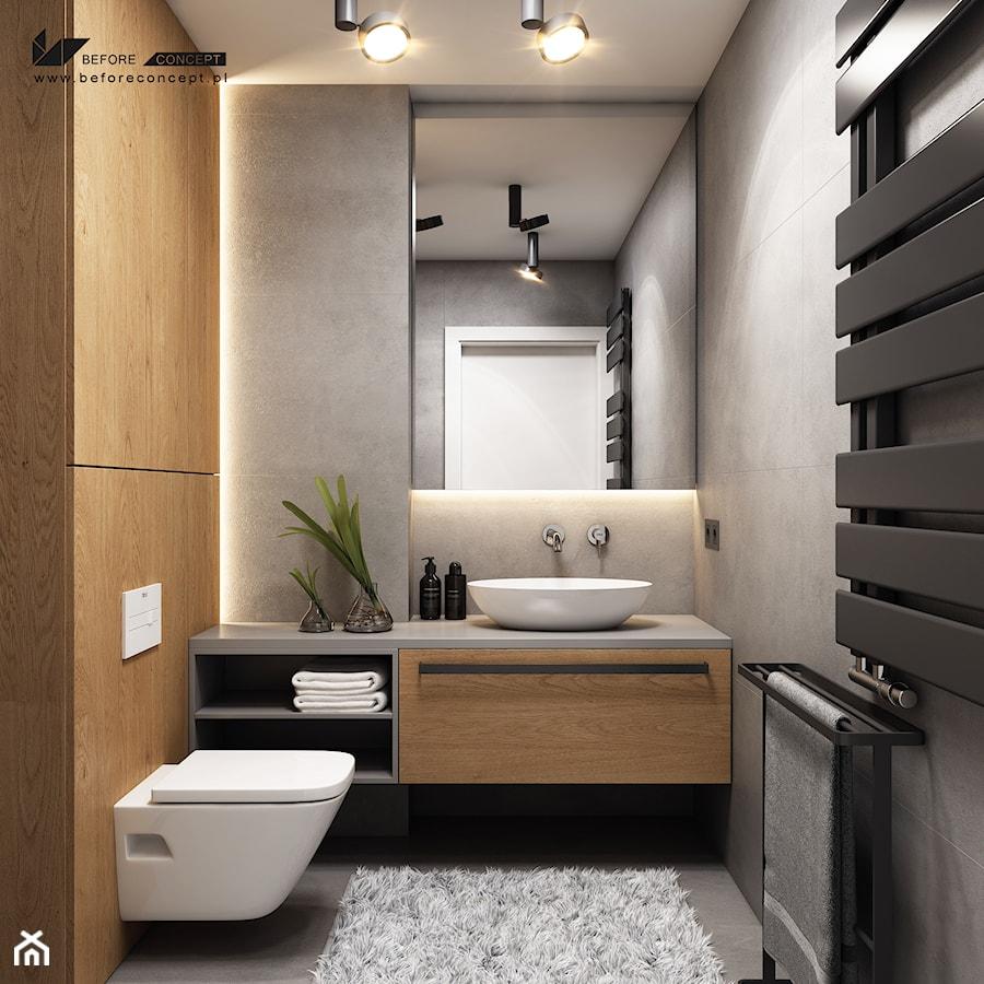 Kolejny projekt mieszkania w Krakowie - Mała szara łazienka na poddaszu w bloku w domu jednorodzinnym bez okna, styl nowoczesny - zdjęcie od BEFORECONCEPT