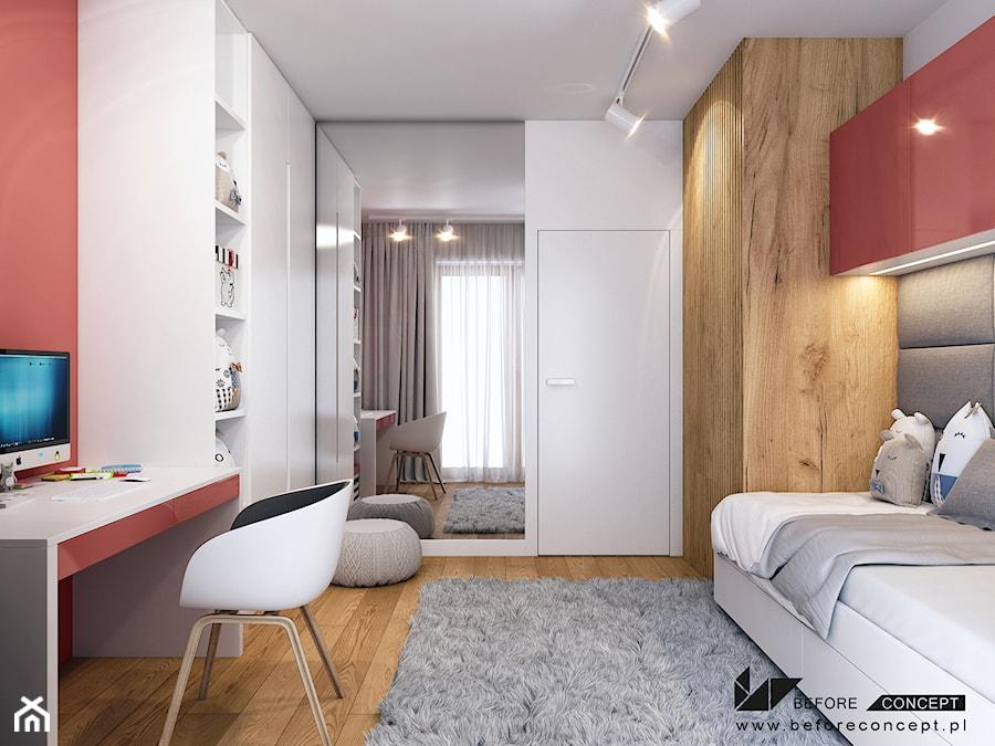 Klimatyczne mieszkanie w Krakowie 3 - Średni biały czerwony pokój dziecka dla dziewczynki dla ucznia dla nastolatka, styl nowoczesny - zdjęcie od BEFORECONCEPT