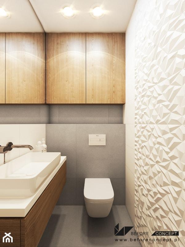 PROJEKT MIESZKANIA W KRAKOWIE 3 - Mała łazienka w bloku w domu jednorodzinnym bez okna, styl nowoczesny - zdjęcie od BEFORECONCEPT