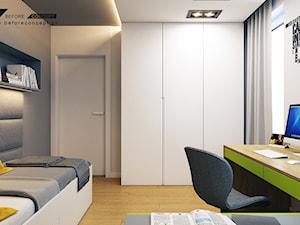 Kolejny projekt mieszkania w Krakowie - Średni szary pokój dziecka dla chłopca dla dziewczynki dla ucznia dla nastolatka, styl nowoczesny - zdjęcie od BEFORECONCEPT