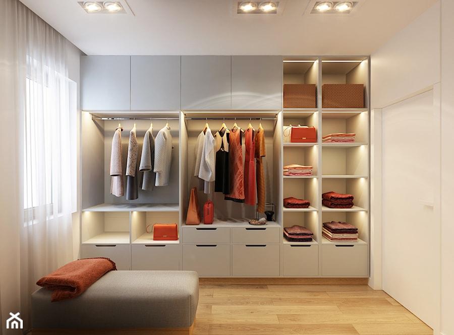 WARSZAWA 170m2 - Duża garderoba z oknem oddzielne pomieszczenie, styl nowoczesny - zdjęcie od BEFORECONCEPT