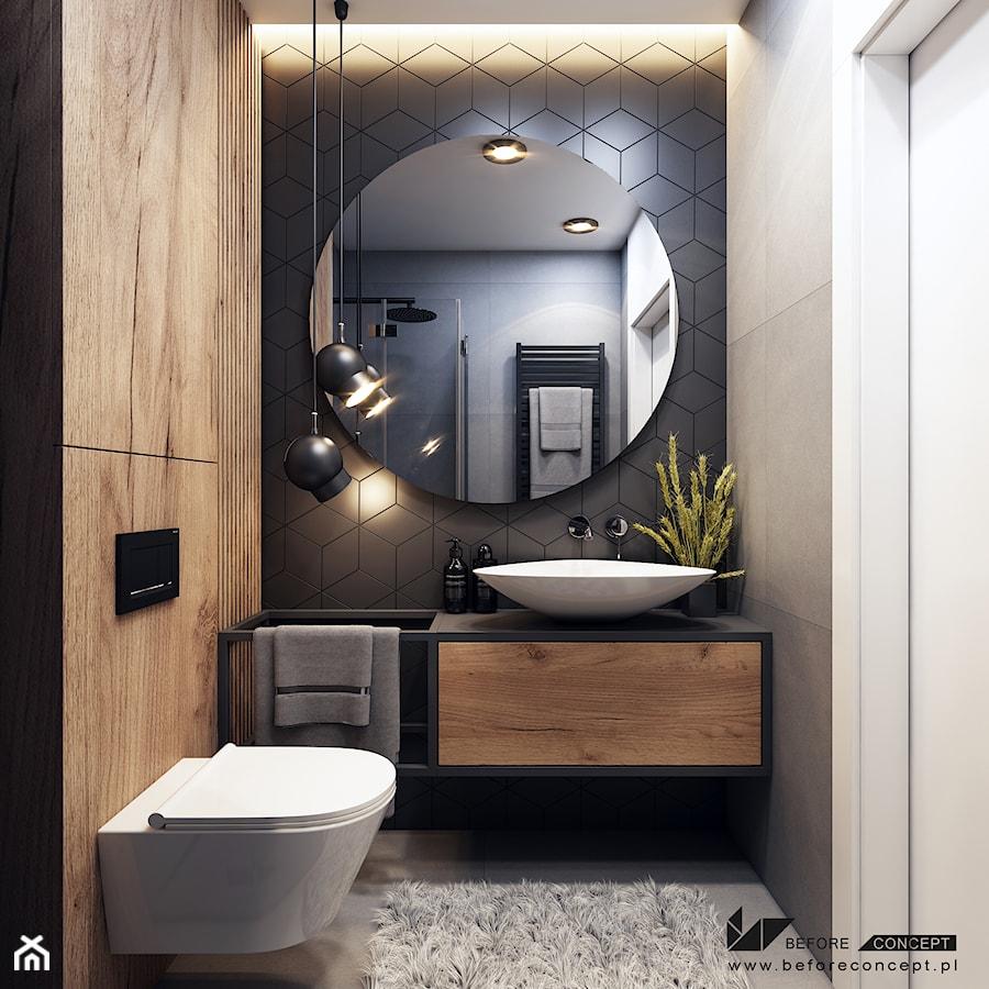 Klimatyczne mieszkanie w Krakowie 3 - Mała czarna szara łazienka w bloku w domu jednorodzinnym bez okna, styl nowoczesny - zdjęcie od BEFORECONCEPT