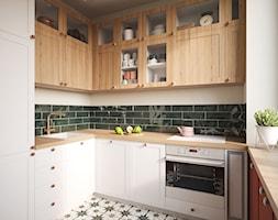 Mieszkanie w stylu kolonialnym - Mała zamknięta szara czarna kuchnia w kształcie litery u z oknem, styl kolonialny - zdjęcie od Boho Studio