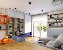 Mieszkanie dla artystów - Średni beżowy salon z bibiloteczką z jadalnią z tarasem / balkonem, styl eklektyczny - zdjęcie od Boho Studio - Homebook