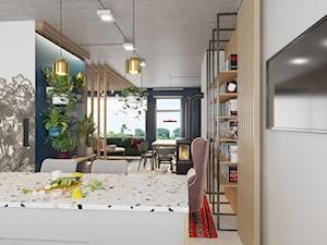 Kontrastowe wnętrze domu pod Warszawą. - Średnia otwarta szara turkusowa jadalnia w kuchni, styl industrialny - zdjęcie od Boho Studio