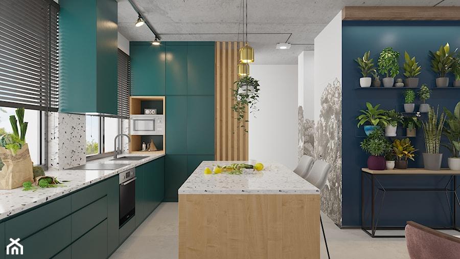 Kontrastowe wnętrze domu pod Warszawą. - Duża otwarta kolorowa kuchnia w kształcie litery l w aneksie z wyspą z oknem, styl eklektyczny - zdjęcie od Boho Studio