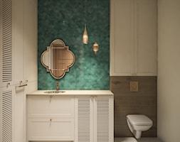 Mieszkanie w stylu kolonialnym - Mała szara zielona łazienka w bloku w domu jednorodzinnym bez okna, styl kolonialny - zdjęcie od Boho Studio - Homebook