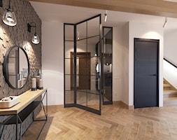 Dom jednorodzinny w stylu loftowym - Średni beżowy hol / przedpokój, styl industrialny - zdjęcie od Boho Studio - Homebook
