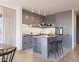 Dom jednorodzinny w stylu loftowym - Średnia otwarta szara kuchnia w kształcie litery l z wyspą z oknem, styl industrialny - zdjęcie od Boho Studio - Homebook