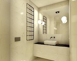 Luksusowy apartament w kamienicy - Mała szara łazienka w bloku w domu jednorodzinnym bez okna, styl minimalistyczny - zdjęcie od Boho Studio - Homebook